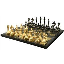 "Soviet Inspired Brass Metal Luxury Chess Pieces & Board Set- 14"" - Unique Art"