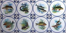 Fliesen 15x15 nach Delfter Art blau-weiß Antike Kachel Fisch Karpfen Aal 8er Set