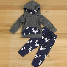 New Kids Baby Boy Girl Outfits Clothes Hoodie Sweater Tops+Pants 2PCS Sets 3T 4T