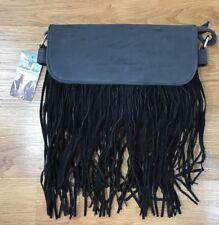 Western Faux Leather Fringe Purse Heritage West Boho Handbag Crossbody Black NWT