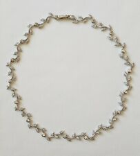 "Nadri Vine Crystal Rhodium Plated Silver Rhinestones 16"" Choker Necklace"
