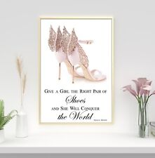 Pink, rose gold high heels Marilyn Monroe quote Print Wall Art Picture.