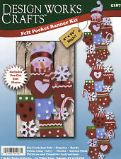 Felt Embroidery Kit ~ Design Works Mittens Felt Pocket Banner Wall Decor #DW5187