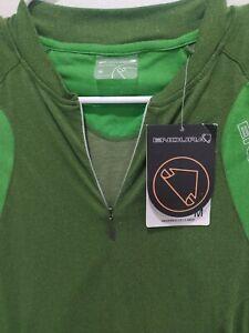 Rare Endura Green Cycling Jersey Short Sleeve UPF Men's Medium Half-Zip 90g