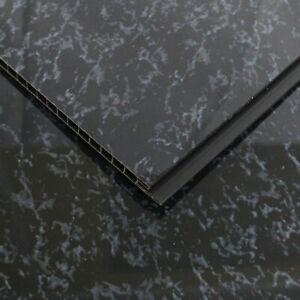 4 Black Marble Cladding Panels Black Gloss Shower Wall Panels Waterproof PVC