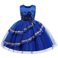 Girl Flower Princess Dresses Kid Party Evening Gown Mesh Dress Xmas Gift