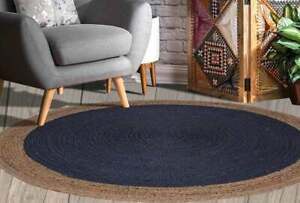 navy blue and natural border round jute rug for outdoor or indoor colorful rugs