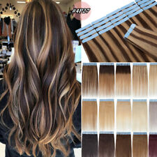 "Remy Tape in 100% Human Hair Extensions Skin Weft Ombre Straight Hot 20"" 22"" 24"""