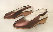 BRUNO MAGLI Italy Bronze Leather Cork Wedges Peep Toe Pumps Shoes Sandals 7 AA