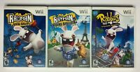 Rayman Raving Rabbids 1, 2, & Go Home Bundle Lot games w/ Manuals TESTED Wii C14