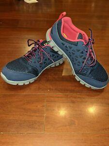 Reebok Sublite Cushion Alloy Steel Toe Work Shoes Navy/Pink Women's Size 10W