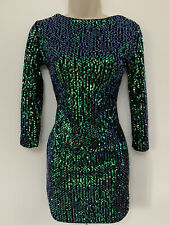Size 8 Motel Dress LBD green sequin Christmas mini short party worn once