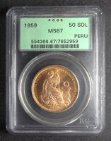PERU - 1959 - 50 SOLES - PCGS MS67 - NONE FINER - G50S - KM-230 - GOLD