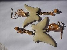 Gold-plated cream enamel butterfly orange crystal 77 mm 16 gram pierced earrings