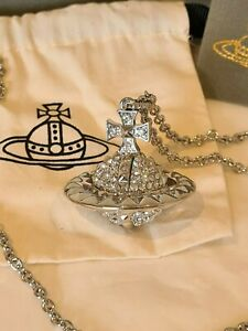 Vivienne Westwood large silver tone Mayfair 3D Crystal Orb pendant necklace