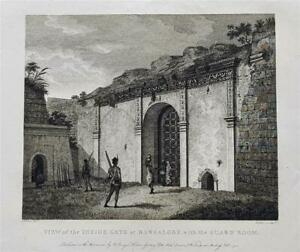 VIEW INSIDE BANGALORE FORT, MYSORE, INDIA by Robert Home, Rare 1794 Engraving