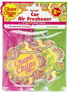 Car Air Freshener Chupa Chups x 2   1 Strawberries& Cream, 1 Juicy Apple in pack