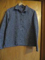 Scott Taylor Women's medium gray long sleeve button up shirt jacket quilted look