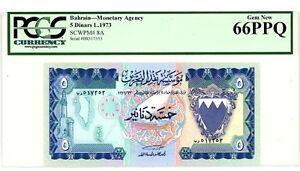 Bahrain ... P-8A ... 5 Dinars ... L.1973 ... *Gem UNC* ... PCGS 66 PPQ.