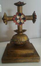 croce da tavolo antica in metallo