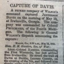Best 2 1865 CIVIL WAR newpapers CAPTURE OF CONFEDERATE PRESIDENT JEFFERSON DAVIS