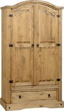 Corona 2 Door 1 Drawer Wardrobe in Distressed Waxed Pine