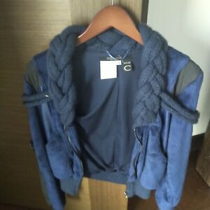 Roberto Cavalli Blue Sweater Fleece Leather Jacket Size S Small