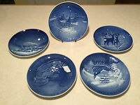 Lot of 5 Vintage BING & GRONDAHL B&G Denmark Blue Christmas Plates 1962-66 EUC