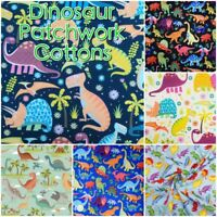 Mixed Colourful DINOSAUR Rex Fossil Jurassic 100% Cotton Patchwork Craft Fabric