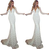 Womens Lace Deep V-neck Mermaid Dress Evening Party Wedding Bodycon Maxi Dress