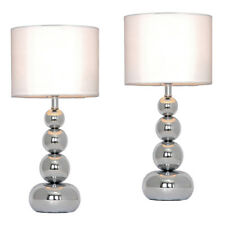 Pair of Modern Silver Chrome  White Touch Bedside Table Light Lamps Lights NEW