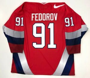 SERGEI FEDOROV 1996 TEAM RUSSIA NIKE LARGE JERSEY DETROIT RED WINGS