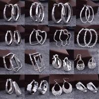 Fashion Women 925 Sterling Silver Dangle Hoop Earrings Charm Gift Jewelry