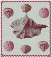 "Sea Shell Sampler Counted Cross Stitch Kit 9"" x 9.25"" 22.7cm x 24.7cm Free P&P"