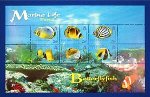 N028 BIOT BRITISH INDIAN OCEAN 2006 Butterfly Fish, Corals, mini-sheet Mint NH