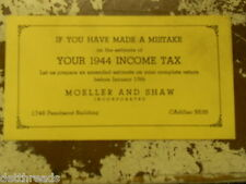 VINTAGE ADVERT CARD FOR MOELLER AND SHAW - 1944 Income Tax - DEROIT, MI