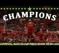 Liverpool Champions Flag. 2020 Winners. Picture of Players In Front Of Kop