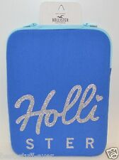 NEW HOLLISTER TABLET IPAD CASE PROTECTION BAG BLUE SILVER SPARKLY SLEEVE ZIPPER
