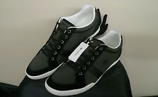 Lacoste Men's Rayford Casual Black Leather & Grey Brushed Canvas Shoes 11.5 New
