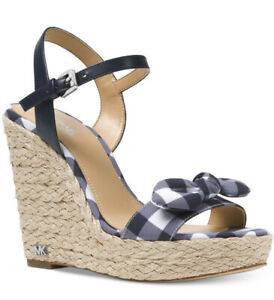New Michael Kors Pippa Gingham espadrille wedge Sandals admiral blue white Wedge