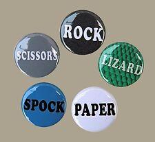 "ROCK PAPER SCISSORS LIZARD SPOCK Pinbacks Buttons 1"" Set of 5"