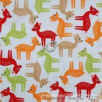 BonEful Fabric FQ Cotton Quilt VTG White Red Orange Brown DEER Xmas Dot Baby Boy