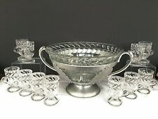 Vtg Punch Bowl Set Trade Continental Hammered Aluminum Glass 11 Cups Ladle Rare