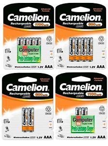 Camelion AAA Micro Akkus Accus HR03 600mAh / 1100mAh NiMH aufladbare Batterien
