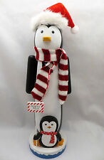 "New North Pole Penguin 14"" Wood Nutcracker Christmas Nut Cracker Arctic Holiday"