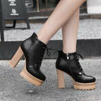 Womens Gladiator Platform Lace Up Ankle Boots Block High Heels Roman Solid Shoes
