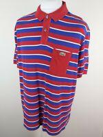 Mens Lacoste Sport Polo Shirt Blue Red Stripe 8 3xl Xxxl Slim 48 Chest