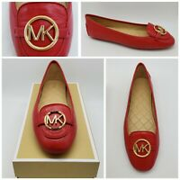 Michael Kors Womens Lillie Moc Bright Red Leather Ballet Flats Size 10 M NEW