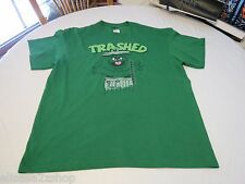 Sesame Street small Oscar the Grouch trash can T shirt green TRASHED Men's adult