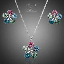Multi Color White Gold Plated Made With SWAROVSKI Crystal Necklace Earrings Set